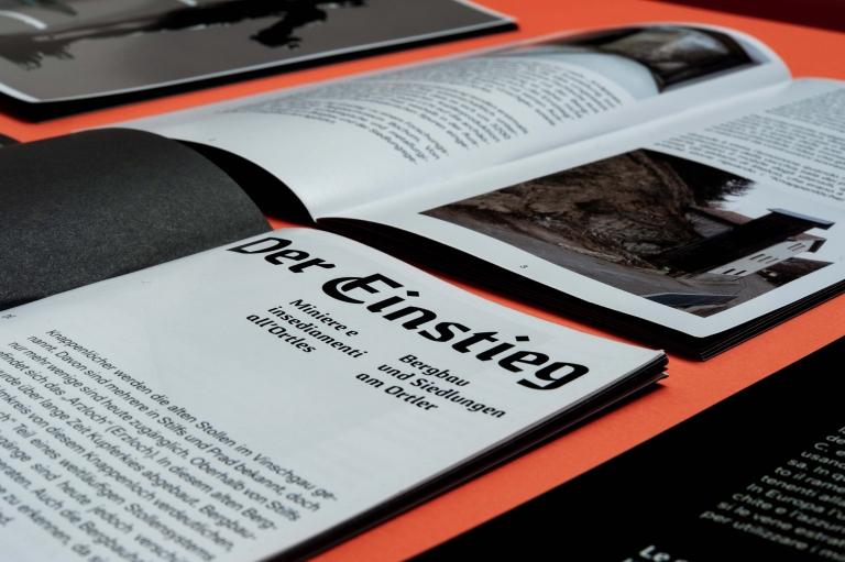 Claudia Polizzi Brochure design, Der Einstieg – Miniere e insediamenti all'Ortles, 2019